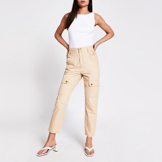 River Island Beige buckle side cargo trousers