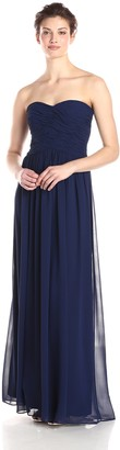 Donna Morgan Women's Audrey Long Strapless Chiffon Dress