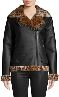 Sam Edelman Faux Fur-Trim Moto Jacket