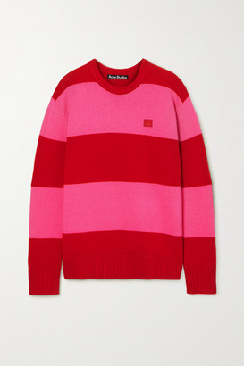 Acne Studios Oversized Appliqued Striped Wool Sweater - Red