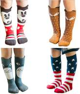 L-Anan Cotton Socks Knee High Long Socks 4 Pairs for Baby Girls
