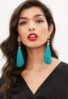 Missguided Green Flower Tassel Earrings