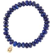 Sydney Evan Jewelry 8mm Faceted Lapis Beaded Bracelet with 14k Gold/Diamond Medium Ladybug Charm (Made to Order)