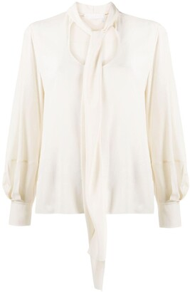 Chloé Long-Sleeve Pussy-Bow Blouse