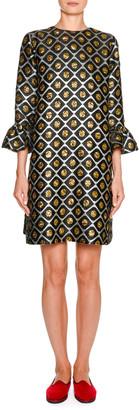 Marni Double J 247 Flare-Sleeve Jacquard Dress