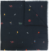 Gucci embroidered scarf - men - Cotton/Modal - One Size