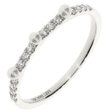 Bony Levy 18K White Gold Beaded Diamond Accent Stackable Ring - 0.12 ctw