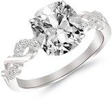 Houston Diamond District 1.33 Carat t.w. 14 White Gold Cushion Twisting Infinity and Diamond Split Shan Pave Set Diamond Engagement Ring VS1-VS2