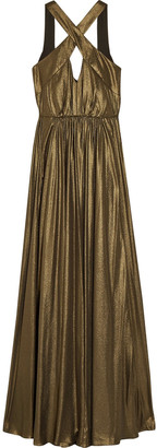 Halston Cutout Pleated Lame Gown