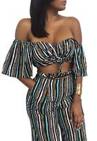 Glamaker Women's Sexy Off Shoulder 2 Pieces Outfits Jumpsuit Crop Tops and Pants Set S