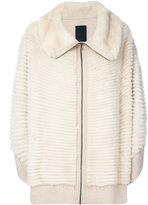 Liska - oversized cape jacket - women - Mink Fur/Cashmere - M