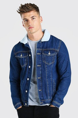 boohoo Mens Blue Regular Denim Jacket With Borg Collar, Blue
