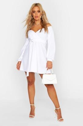 boohoo Plus Crepe Off The Shoulder Wrap Skater Dress