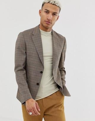 Asos Design DESIGN casual fit slim blazer in brown check