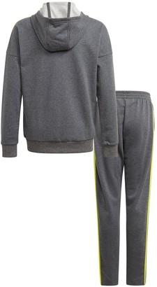 adidas Junior Boys Cotton Tracksuit - Dark Grey Heather