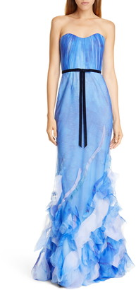 Marchesa Strapless Tulle Mermaid Gown