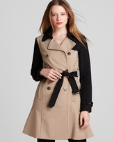 DKNY DKNYC Color Blocked Double Breasted Trench Coat