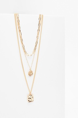 Nasty Gal Womens Square the News Layered Charm Necklace - Gold