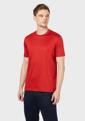 Giorgio Armani Cotton Jersey T-Shirt With Embroidered Logo
