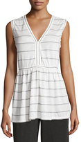 Max Studio Sleeveless Stripe-Print Top, Off White/Gray