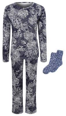 George Navy Floral Pyjamas and Socks Gift Set