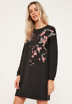 Missguided Black Embroidered Sweater Dress