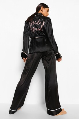 boohoo Matching Brides Squad Embroidered Satin dressing gown