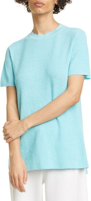 Eileen Fisher Mock Neck Linen Blend Short Sleeve Tunic Sweater