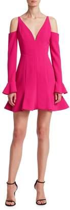 Nicholas Cold-Shoulder Flare-Hem Mini Dress
