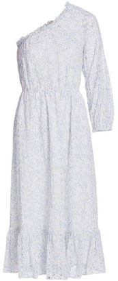 ML Monique Lhuillier One-Shoulder Eyelet Midi Dress