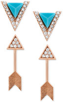 Lucky Brand Rose Gold-Tone Plated 2-Pc. Set Pavé Arrow Stud Earrings
