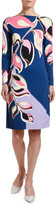 Emilio Pucci Printed Long-Sleeve Boat-Neck Knee-Length Belted Dress