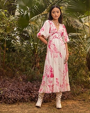HEMANT AND NANDITA Floral Print Maxi Dress