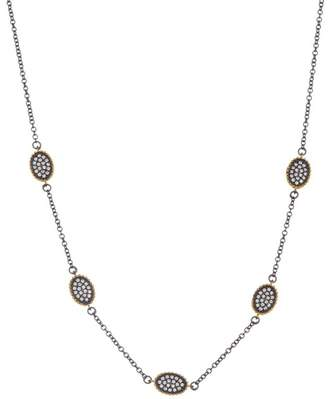 Freida Rothman Two-Tone Crystal Embellished Oval Station Necklace
