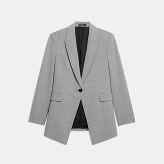 Theory Good Wool Houndstooth Long Blazer