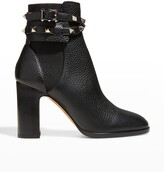 Thumbnail for your product : Valentino Garavani Rockstud Buckle-Wrap Ankle Booties