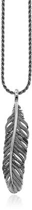 Thomas Sabo Blackened Sterling Silver Necklace w/ Feather Pendant and Black Cubic Zirconia
