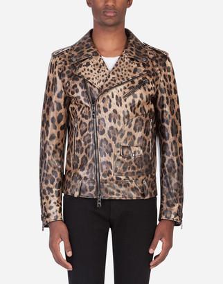 Dolce & Gabbana Lambskin Leather Jacket With Leopard Print