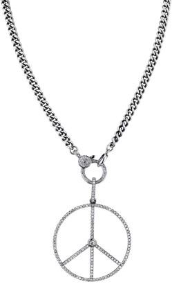 Sheryl Lowe Diamond Peace Sign Pendant Necklace