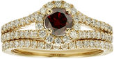 JCPenney MODERN BRIDE 1 CT. T.W. Certified White and Color-Enhanced Red Diamond Bridal Ring Set
