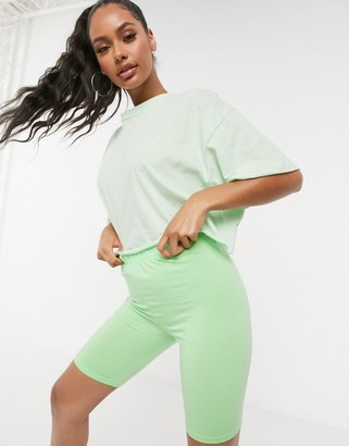 ASOS DESIGN tonal co-ord boxy crop t-shirt with raw edge in apple