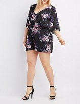Charlotte Russe Plus Size Floral Kimono Sleeve Romper