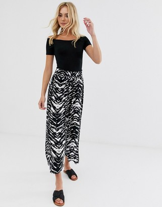 ASOS DESIGN shirred waist culotte in abstract mono animal print