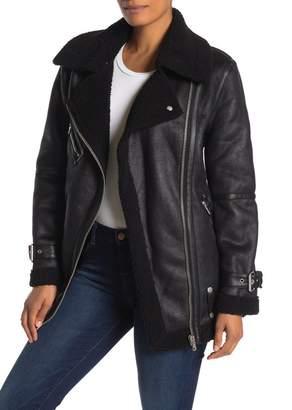 AVEC LES FILLES Faux Leather Coated Faux Shearling Lined Biker Jacket