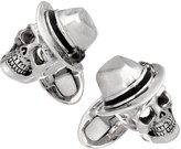 Jan Leslie Sterling Skull w/ Fedora Cuff Links
