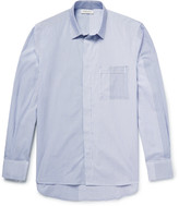 Public School Kit Raw-Edged Striped Cotton-Poplin Shirt