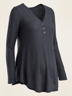 Old Navy Maternity Cozy Waffle-Knit Henley Top