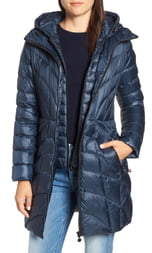 Bernardo Glossy Quilted Walker Coat