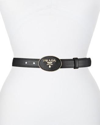 Prada Oval Logo-Buckle Leather Belt