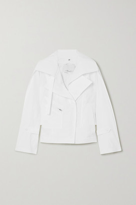 3.1 Phillip Lim Belted Cotton-blend Poplin Biker Jacket - White